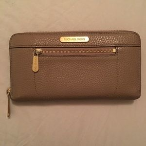 Michael Kors Taupe Zip Around Wallet